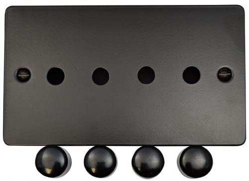 G&H FFB14-PK Flat Plate Matt Black 4 Gang Dimmer Plate Only inc Dimmer Knobs